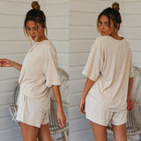 Round Collar Casual T-shirt Shorts Knit Two-piece Suit Home Workout Fitness Home Outfit