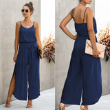 V-neck Suspender Irregular Wide Leg Side Jumpsuit