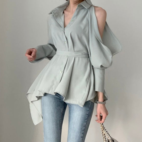 Puff Bubble Sleeves Strapless Single-breasted Blouses