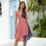 Backless Irregular Skirt Hem Dress Stars and Stripes Stitching