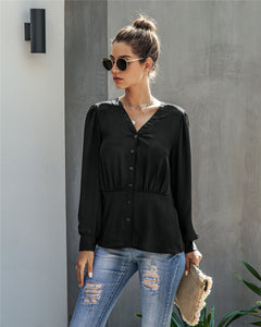 Single-breasted V-neck Long Sleeve Shirt