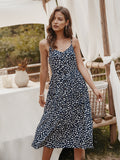 V-neck Suspenders Single-breasted Printed Maxi Dress