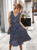 V-neck Button Floral Midi Maxi Dresses
