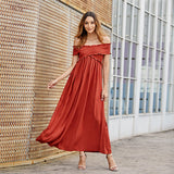 Wrinkle Off The Shoulder Party Vacation Maxi Dresses