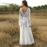 Beach Elegant Sexy White Backless Hollow Out Ruffle Sleeve Maxi Dress