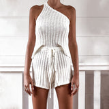 Suspenders One Shoulder Knitted Two-piece Tops Shorts
