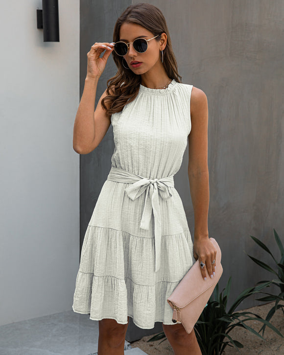 Womens Sleeveless Lace-up Pleated Dress Mini A Dress White