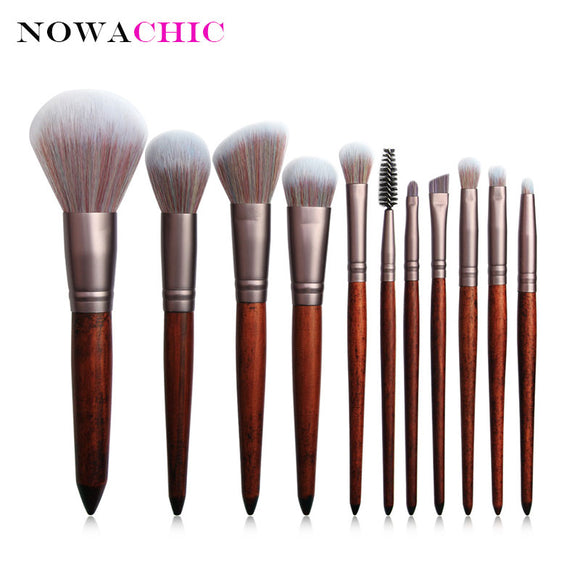 11pcs Imitate Animal Hair Makeup Brush Set Beauty Tools