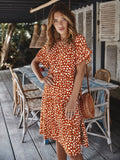 Round Neck Lotus Sleeve Polka Dot Maxi Dress