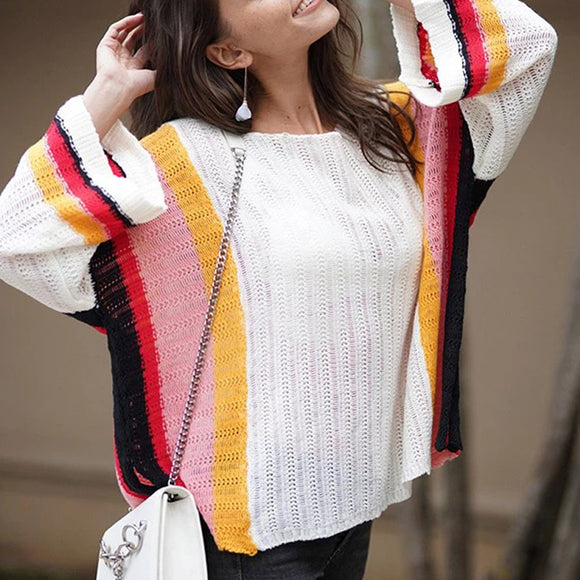 Women's Rainbow Knitting Hollow Loose Sweater Cover Ups