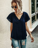 Ruffled Sleeves Lace-up V-neck Blouses T-shirt