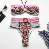 Strappy Bikini Stitching Color Swimwear