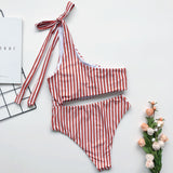 One Shoulder Lace-up Striped One-piece Swimsuit