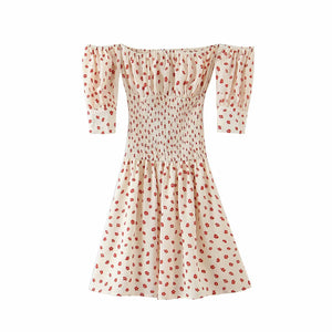 Vintage Sexy Floral Off-The-Shoulder Mini Dress Elastic Waist Dress