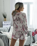 Floral Two-piece Set Cotton T-Shirt Lace-up Shorts Loungewear