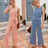 Suspenders Striped Strappy Sleeveless Jumpsuit