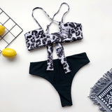 Leopard Print Bikini Lace-up Swimwear