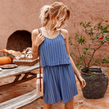Striped Suspenders Jumpsuit Casual Shorts Rompers