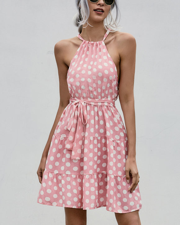 Lace-up Backless Polka Dot Halter Mini Dress
