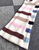 Flared Sleeve Contrast Striped Knitted Sweater