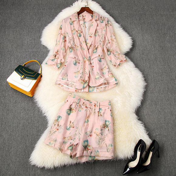 Elegant Office Style Floral Printing Suit Shorts Blazers Two-piece Set