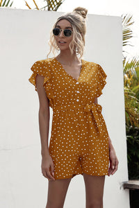 Polka Dot Lace-up Jumpsuit Lotus Sleeve Single-breasted Drawstring Rompers
