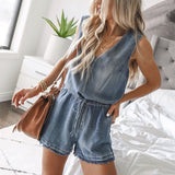 Elastic Belt Denim Vest And One-piece Shorts