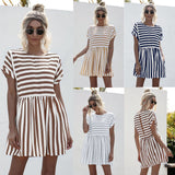 Vacation Round Neck Loose Stripe Mini Dresses
