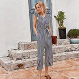 Striped Cropped Pants Jumpsuit Single-breasted Lotus Sleeve Romper