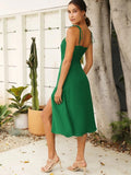 Tie Lace Up Retro Green Split Midi Dresses