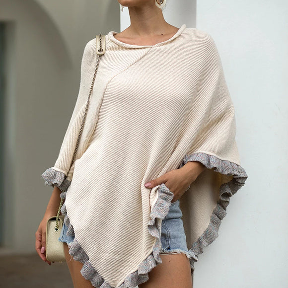 Ruffled Hem Crimped Collar Sweater Cloak Shawl Cape Cardigans