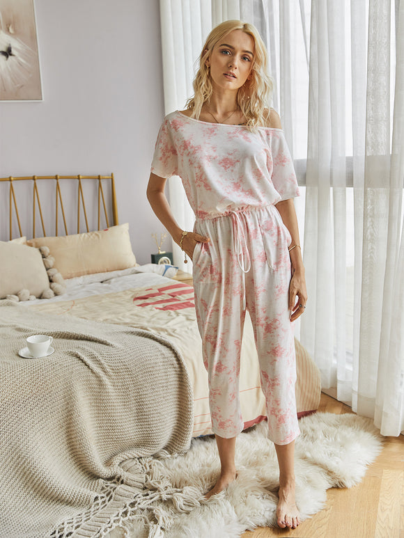 Tie Dye Lace-up Jumpsuit Print Loungewear Rompers