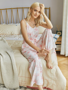 Suspenders Tie Dye Casual Lace-up Jumpsuit Loungewear Rompers