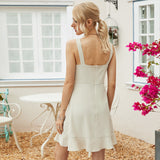 Backless Suspenders Flounces Ruffled Hem Mini Dress Open Back