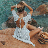 Deep V Striped Backless Seaside Vacation Maxi Dresses