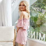 Chiffon Strapless Shirt Off Shoulder Tops Shorts Pleated Two-piece Set
