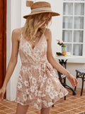 Backless Lace Hollow-out Mini Dresses Suspenders Lace-up Floral Skirt Open Back