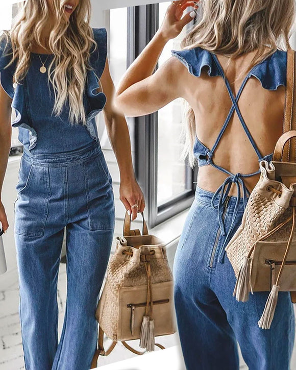 Lace-up Ruffled Denim Jumpsuit Backless Sleeveless Romper