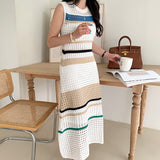 Knit Hollow-out Round Neck Sweater Midi Dresses