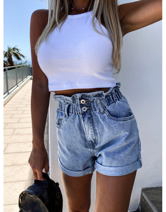 High-waist Button Curled Denim Shorts Jeans Hot Pants