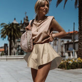 Wide-leg Buttons Flared Horn Hem Shorts