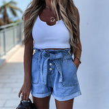 High-waist Button Curled Denim Shorts Jeans Hot Pants With Belt