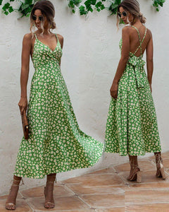Daisy Floral Print Backless Boho Bohemia Bow Maxi Dresses