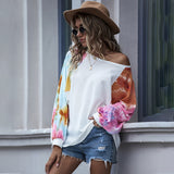 Off Shoulder Batwing Sleeve Tie Dye Sweater Knit Tops