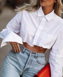 Long Sleeve Single-breasted Irregular Short Cotton Shirt Blouse