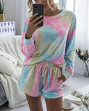 Tie-Dye Two-piece Cotton T-Shirt Lace-up Shorts Loungewear