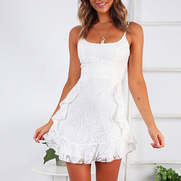 White Lace Floral Printed Sling Seeveless Mini Dresses