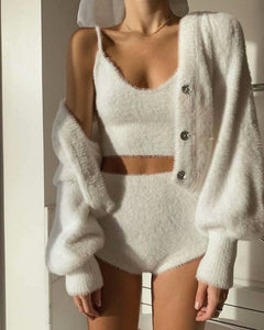 White Mohair V-neck Single-breasted Knitting Coat Jacket Halter Short Vest Shorts Hot Pants Three-piece Set