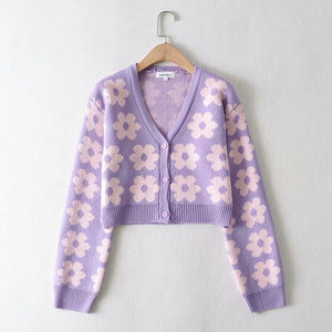 Single-breasted FLoral V-neck Knitting Sweater Cardigan