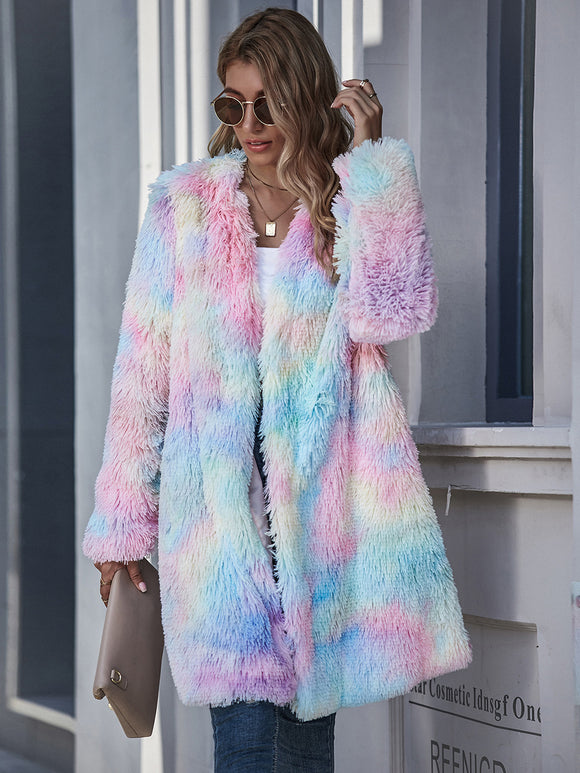 Ttie-dye Cardigan Casual One Fur Outerwear